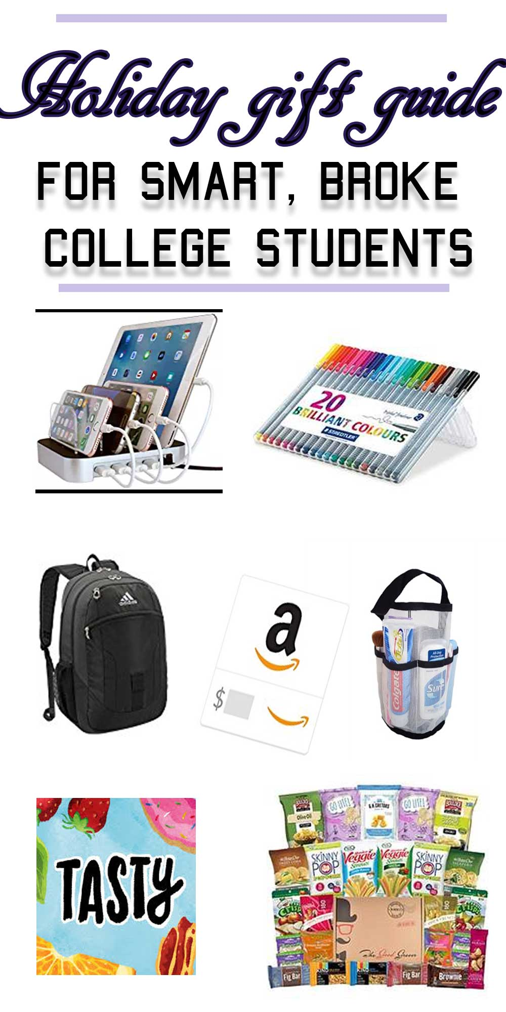 Not sure what to get your favorite college student? OR want to tell people what you actually want and NEED? Here's what broke college students want for the holidays--Christmas, New Years, or just for their birthdays. These are holiday gifts for him and holiday gifts for her--totally unisex. Click here to view the full holiday guift guide for smart and broke college students!