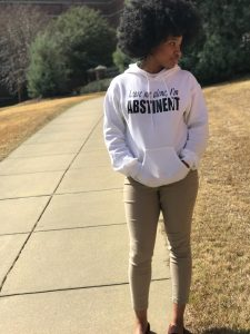 """""""Leave me alone, I'm abstinent"""" white hoodie with """"I can do all things through Christ who gives me strength"""" bible verse at back. Perfect for college students practicing abstinence and celibacy. Also perfect for high school students that are soon to be freshman. 5 things to do on valentines day without having sex."""